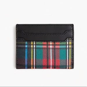 NWT J. Crew Italian Leather Card Case Tartan case